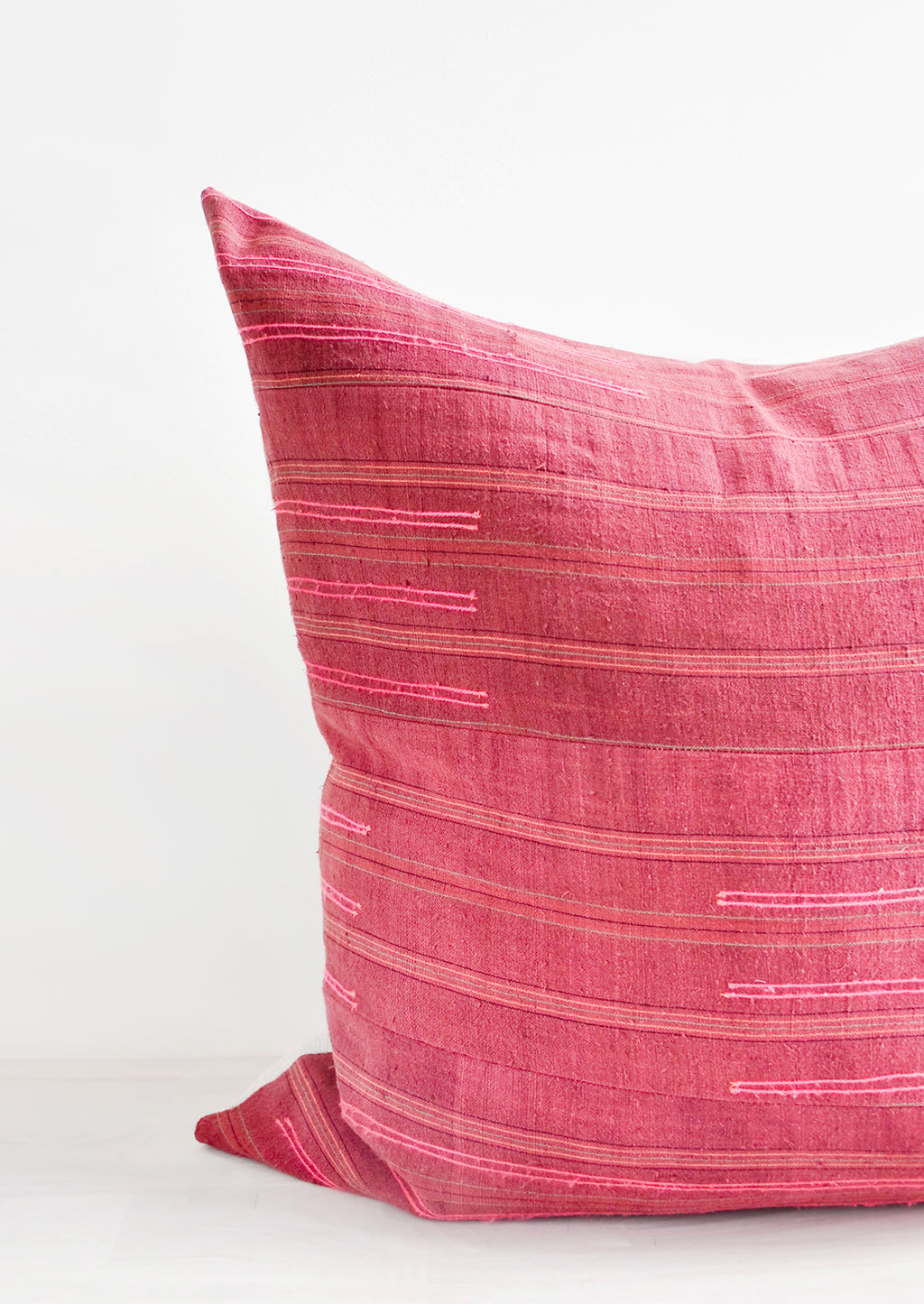 3: Wine Colored Recycled Thai Fabric Square Throw Pillow with Hot Pink Embroidery Detailing