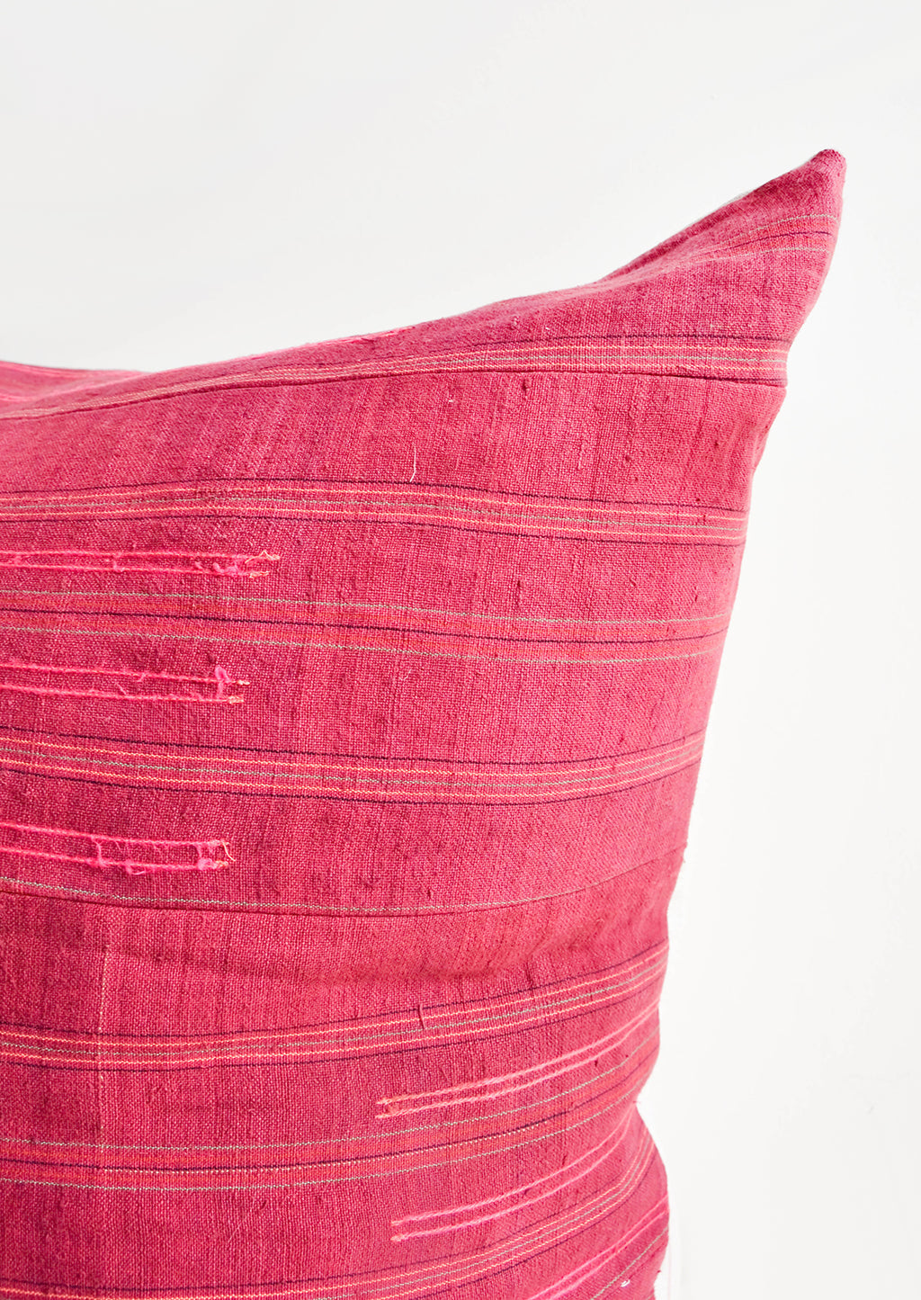 2: Detail of Wine Colored Recycled Thai Fabric Square Throw Pillow with Hot Pink Embroidery Detailing