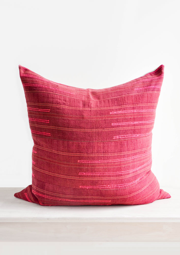 1: Wine Colored Recycled Thai Fabric Square Throw Pillow with Hot Pink Embroidery Detailing