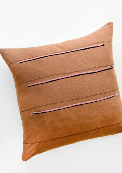 Stitch Stripe Pillow in Clay