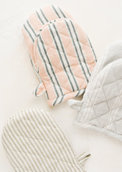 Striped French Linen Oven Mitt
