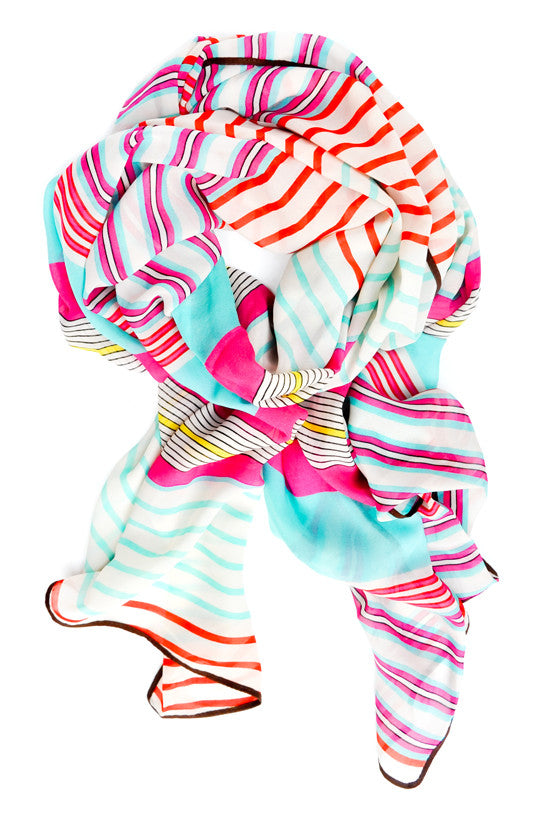 Stripes & Bars Chiffon Scarf - LEIF