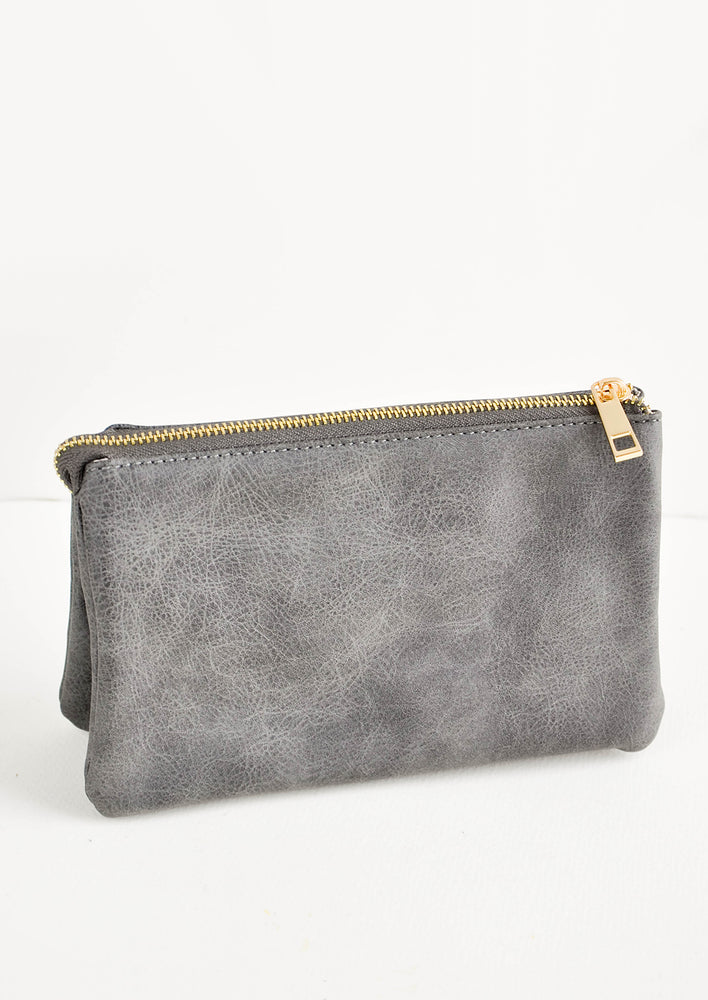 Charcoal Crackle: Grey fabric clutch purse featuring two attached pouches with gold zipper.