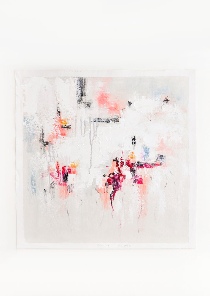 1: An abstract painting in white with textured strokes in grays and pinks.