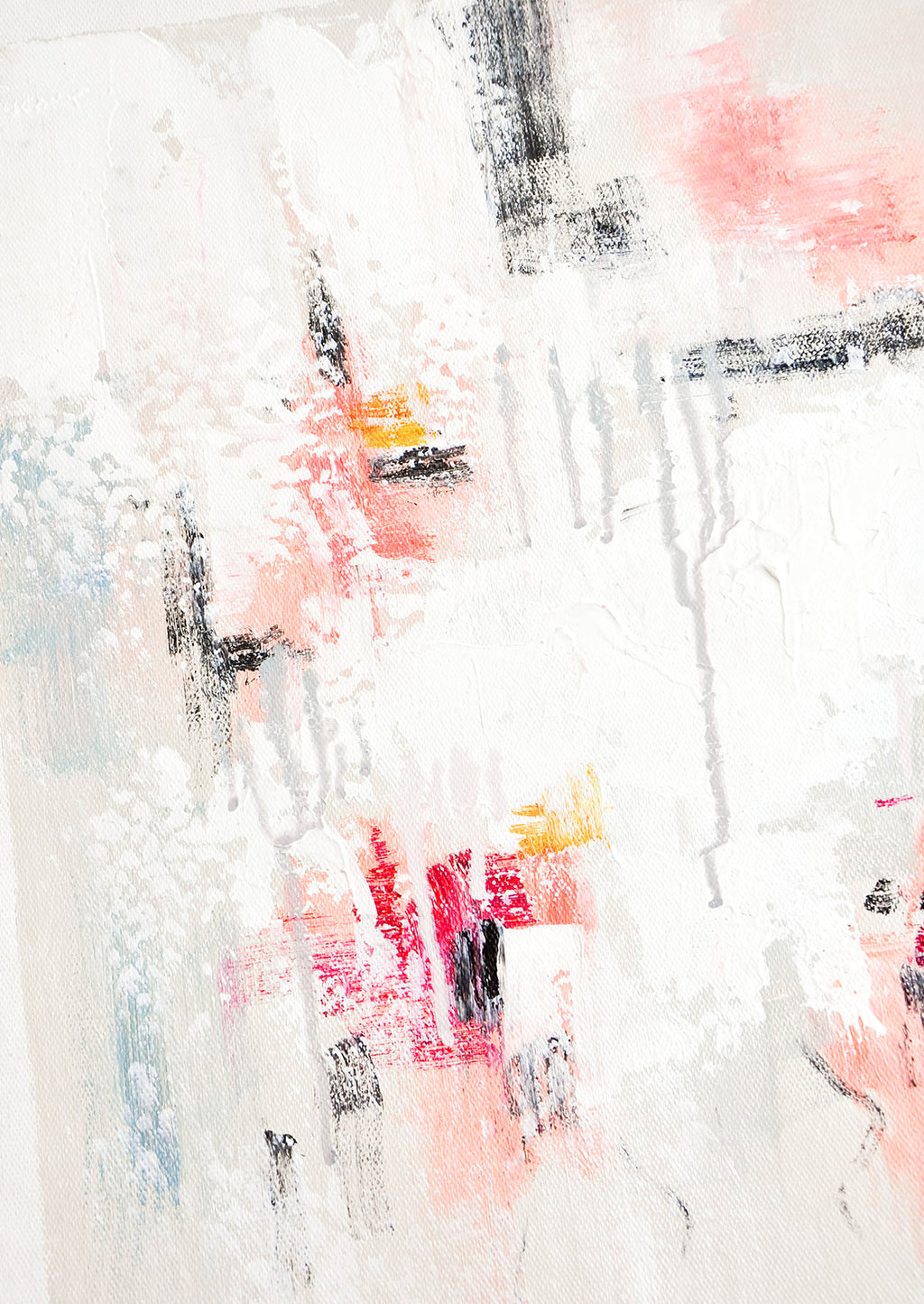 2: A close up of an abstract white, pink, and gray painting.