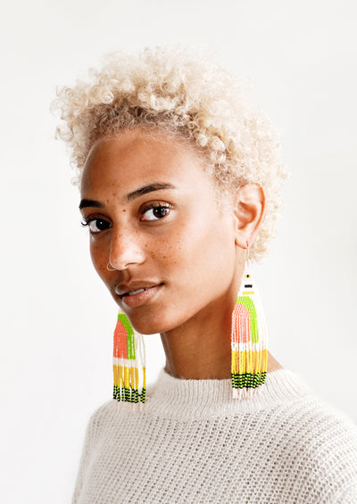 Sunshine Groove Beaded Earrings hover