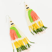1: Ivory, lime green, pink, yellow, and black beaded fringe earrings on silver ear wire.