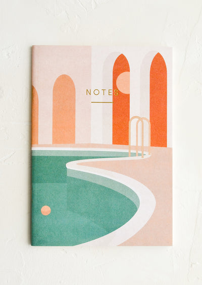 A notebook with swimming pool image cover.