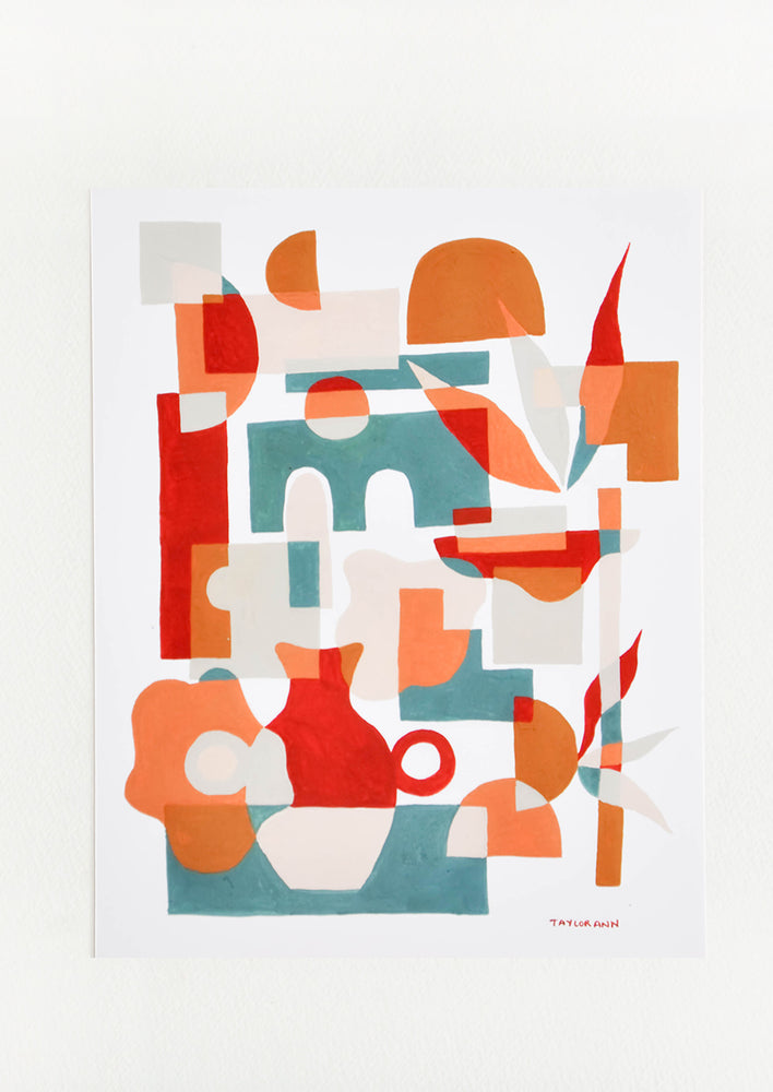 1: A print of red vases amongst geometric forms in orange, red, and green.