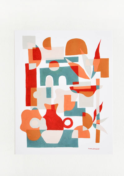 A print of red vases amongst geometric forms in orange, red, and green.