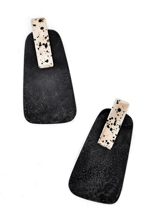 Tempo Convertible Earrings in Black / Silver Spot - LEIF