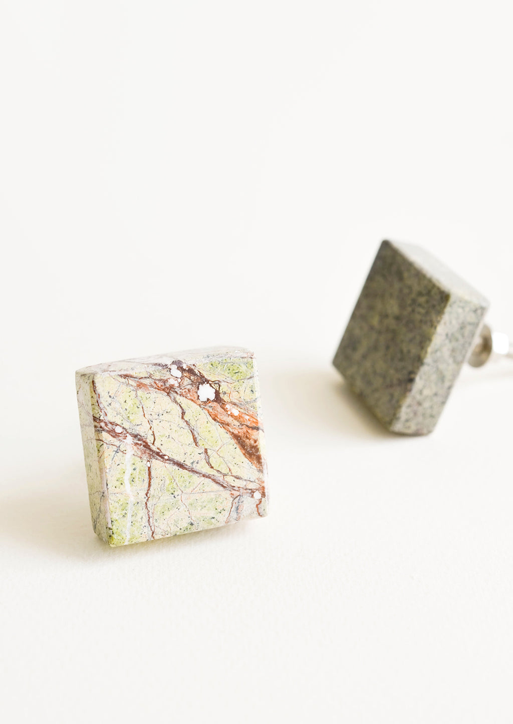 Green Multi: Square stone knob with natural shades of green, orange and brown