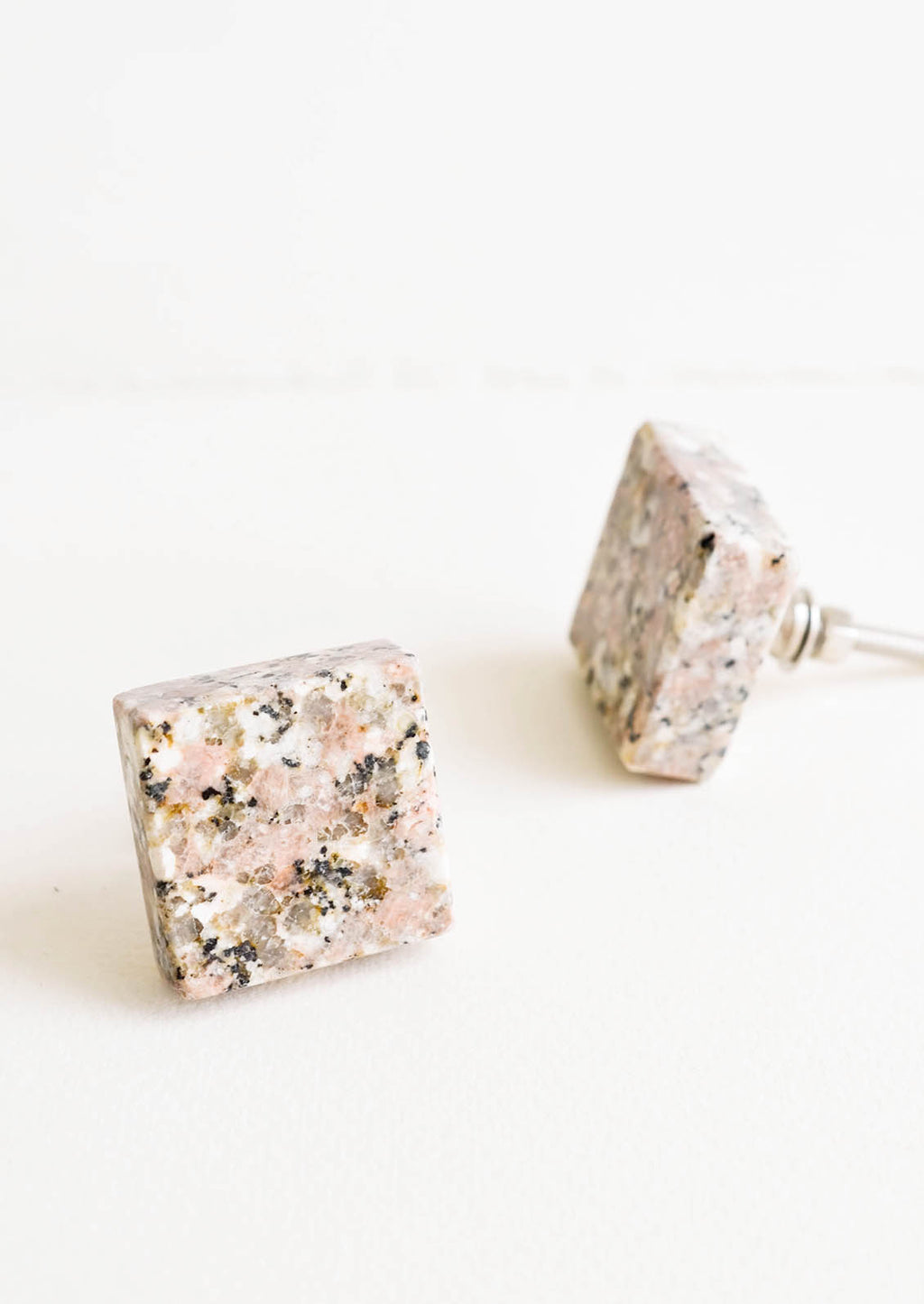 Pink Multi: Square stone knob with natural shades of pink, grey and white