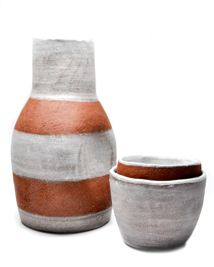 Striped Terracotta Carafe Set - LEIF