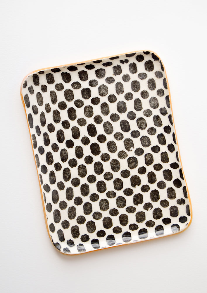 Pressed Pattern Ceramic Tea Tray in Dot Black - LEIF