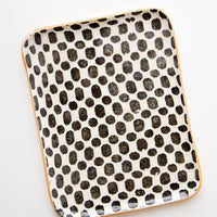 Dot / Black: Pressed Pattern Ceramic Tea Tray in Dot Black - LEIF