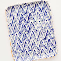 Chevron / Cobalt: Pressed Pattern Ceramic Tea Tray in Chevron / Cobalt - LEIF