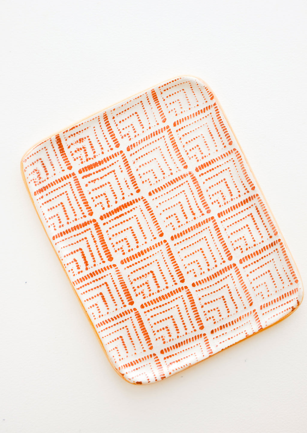 Deco / Rust: Pressed Pattern Ceramic Tea Tray in Deco / Rust - LEIF