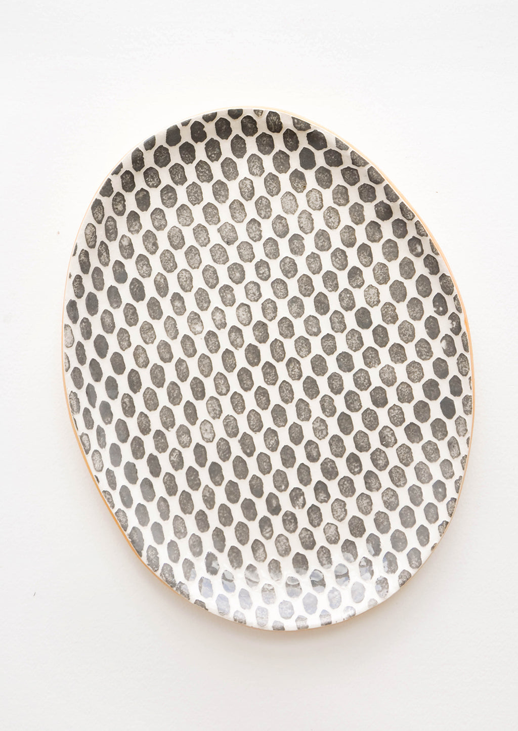 Dot / Charcoal: Pressed Pattern Oval Ceramic Platter in Dot / Charcoal - LEIF