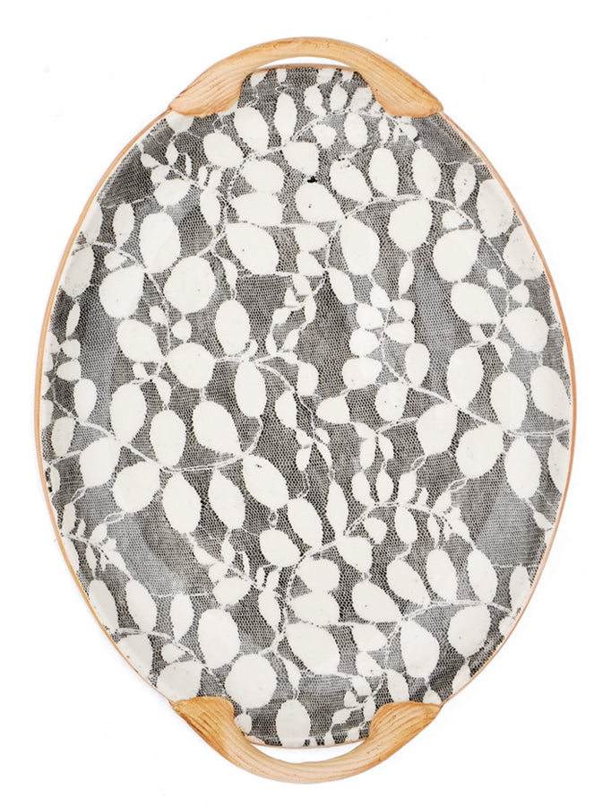 Pressed Pattern Serving Tray in Sunprint Black - LEIF