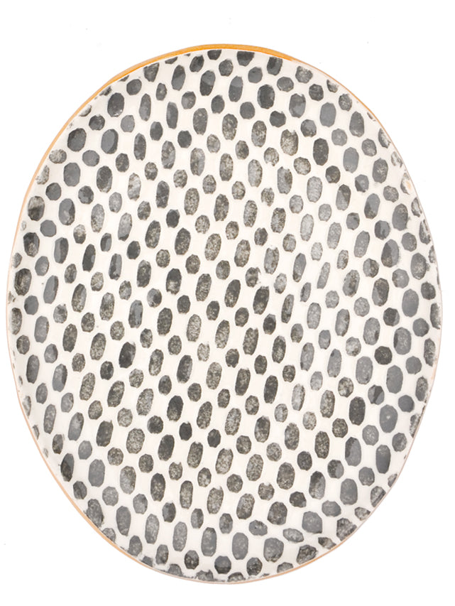 4: Pressed Pattern Oval Ceramic Platter in  - LEIF