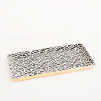 3: Pressed Pattern Stacking Rectangle Tray in Terrazzo Black - LEIF