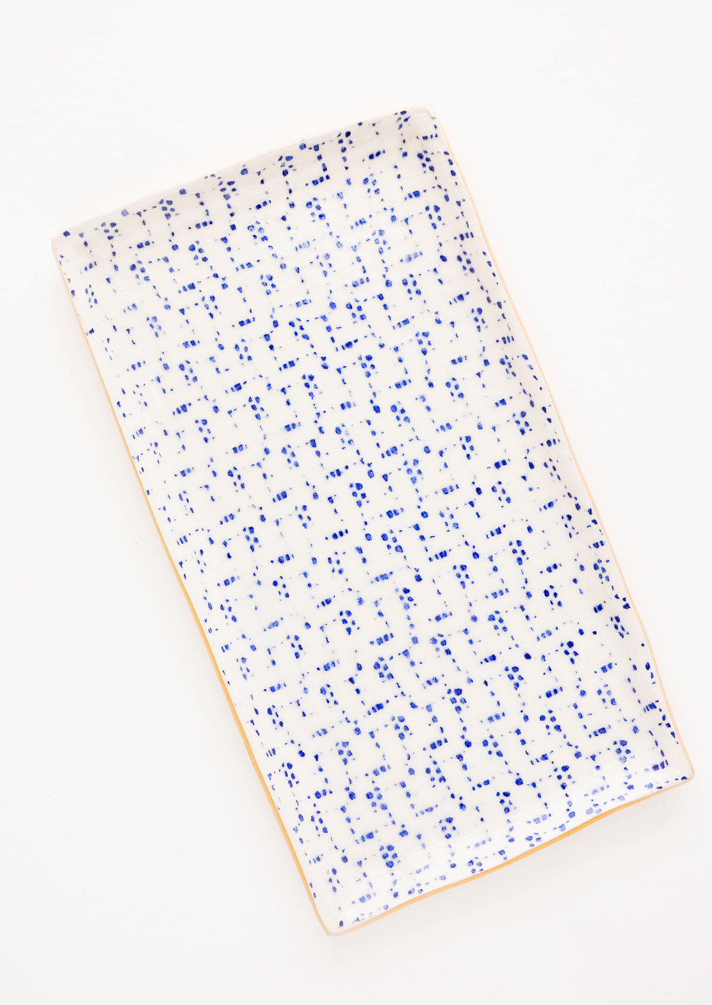 Maze / Cobalt: Pressed Pattern Stacking Rectangle Tray in Maze / Cobalt - LEIF