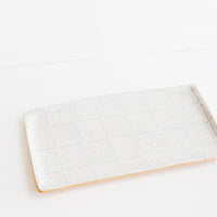 Deco / Periwinkle: Pressed Pattern Stacking Rectangle Tray in Deco / Periwinkle - LEIF