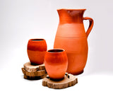 Terracotta Pitcher and Wine Cup Set