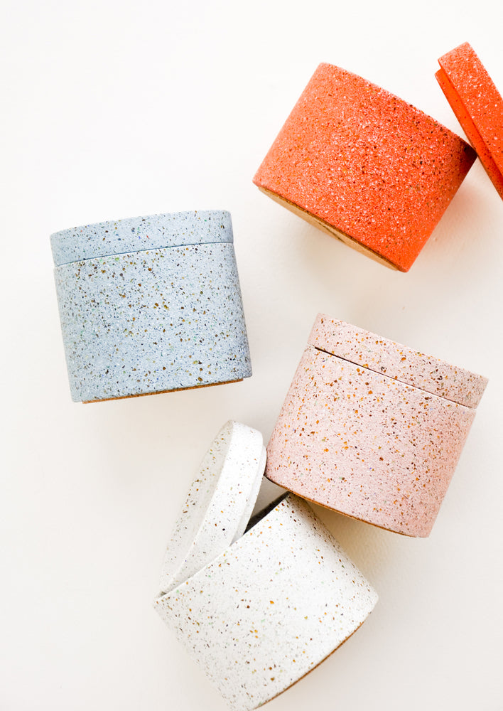 1: Colored Concrete Storage Jars with Speckled Glass Flecks