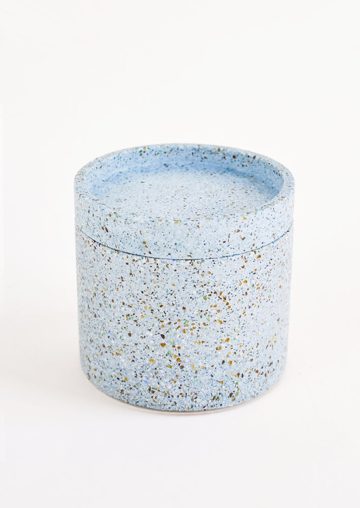 River Blue: Blue Colored Concrete Storage Jars with Speckled Glass Flecks