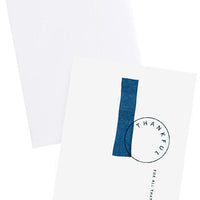 "2: White notecard with black text ""Thankful For All That You Do"" and navy blue painted swatches, with white envelope."