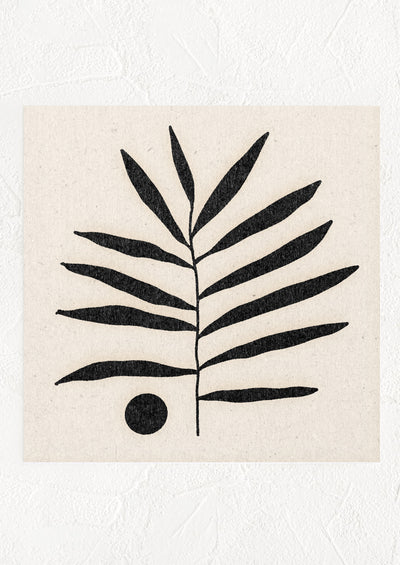 A square digital art print with natural background and palm leaf silhouetted in black.