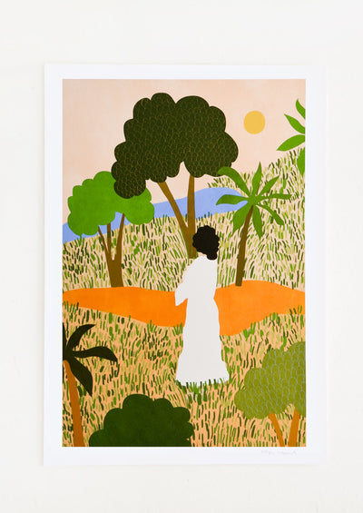 Digital art print of a woman in a white dress gazing unto a forested pathway, viewed from behind.
