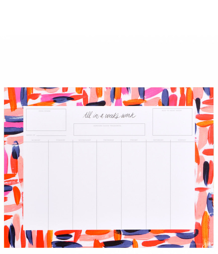 Brushstrokes Weekly Desk Planner - LEIF