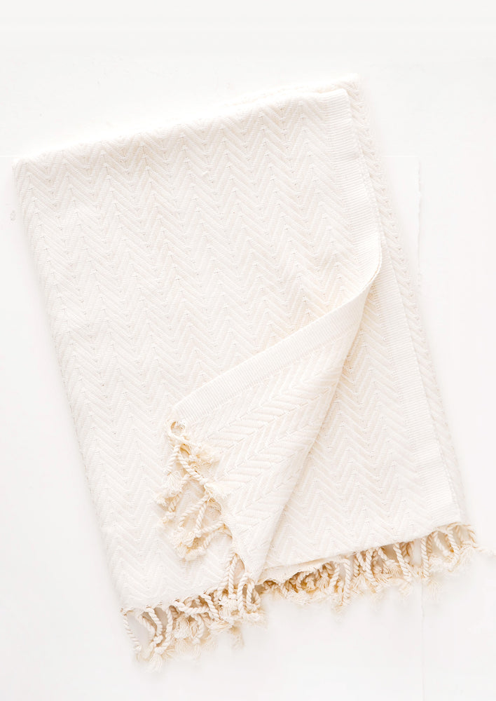 Tonal Herringbone Towel in  - LEIF