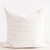 1: Square throw pillow in natural cotton with pastel blue and pink horizontal stripes throughout