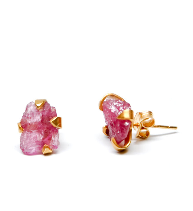 Raw Pink Tourmaline Earrings - LEIF