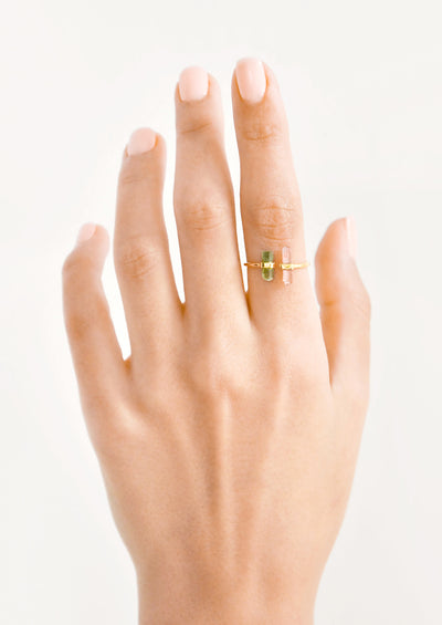 Raw Tourmaline Crystal Ring hover