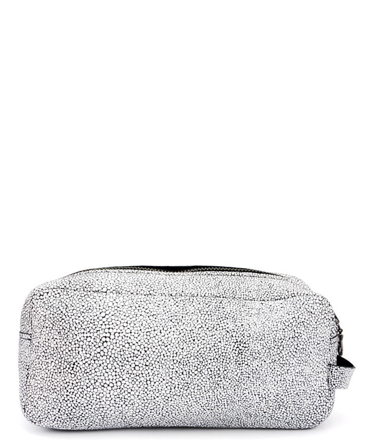 Black & White Stingray: Isoline Leather Makeup Bag in Black & White Stingray - LEIF