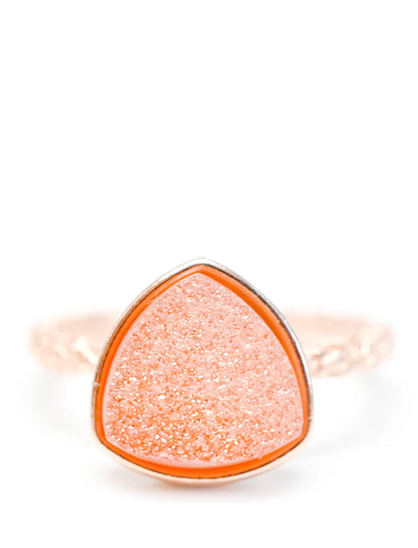 Drusy Triangle Ring in Melon - LEIF