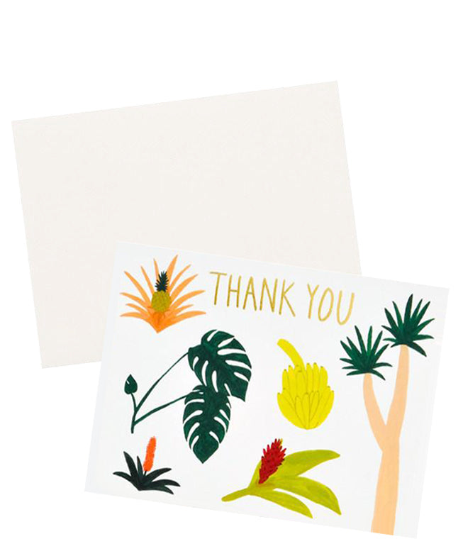 3: Thank you notecard with various colorful tropical plants decoration, with white envelope.