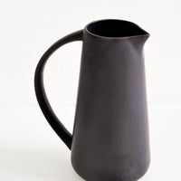 48 oz: Matte black pitcher with oversized handle.