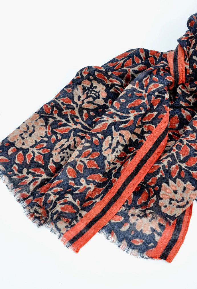 Tuscan Floral Wool-Cashmere Scarf