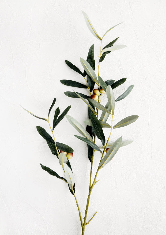 1: Realistic looking faux olive branch with leaves and ripening olives