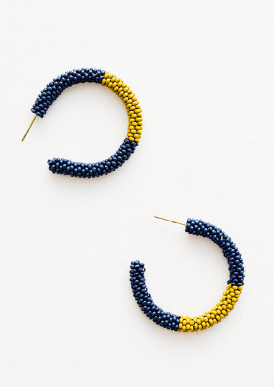 Two-Tone Beaded Hoop Earrings