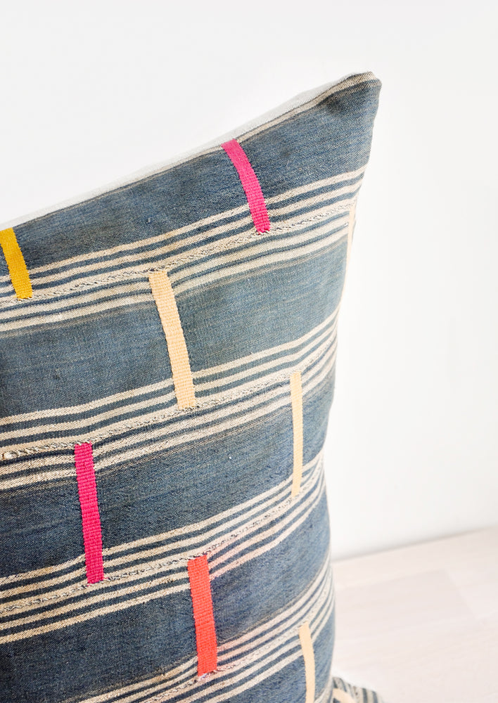 2: Vintage Embroidered Indigo Pillow in  - LEIF