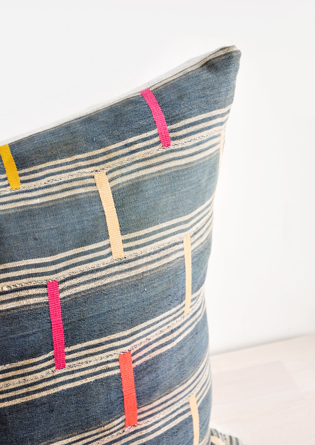 Vintage Embroidered Indigo Pillow