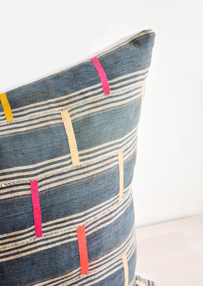 Vintage Embroidered Indigo Pillow hover