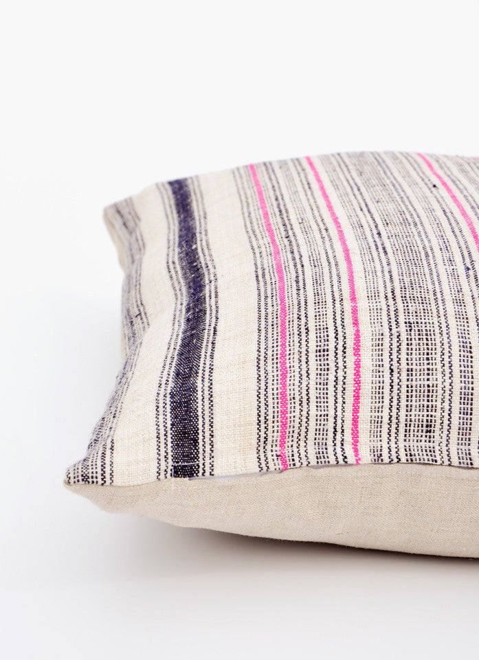 Vintage Hemp Stripe Pillow, 22""